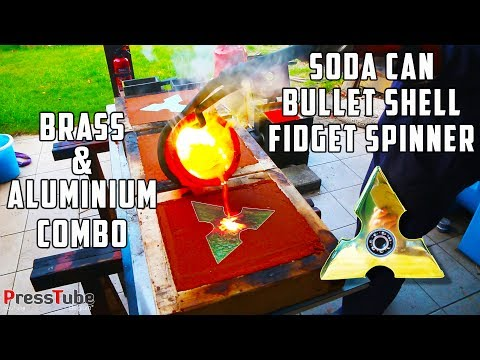 Casting 3 layer Fidget Spinner from Soda Cans and Bullet Shells | Brass & Aluminium | PressTube