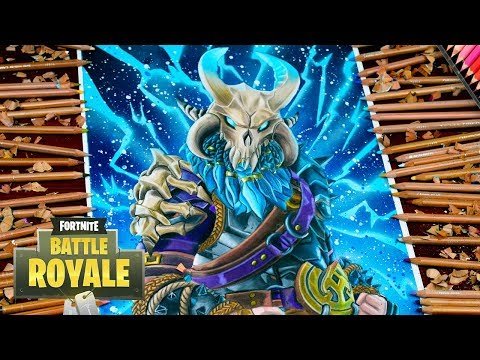 Drawing Fortnite Battle Royale Ragnarok level 100 Full Max UPGRADED LEGENDARY SKIN Dibujos fortnite