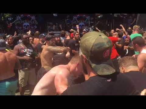 Mosh pit during Hatebreed set at 2018 Warped Tour in Homdel