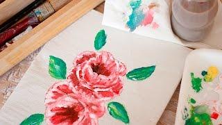 Como pintar rosas paso a paso - Speedpaint - Pintar rosas en tela - Tecnicas en manualidades