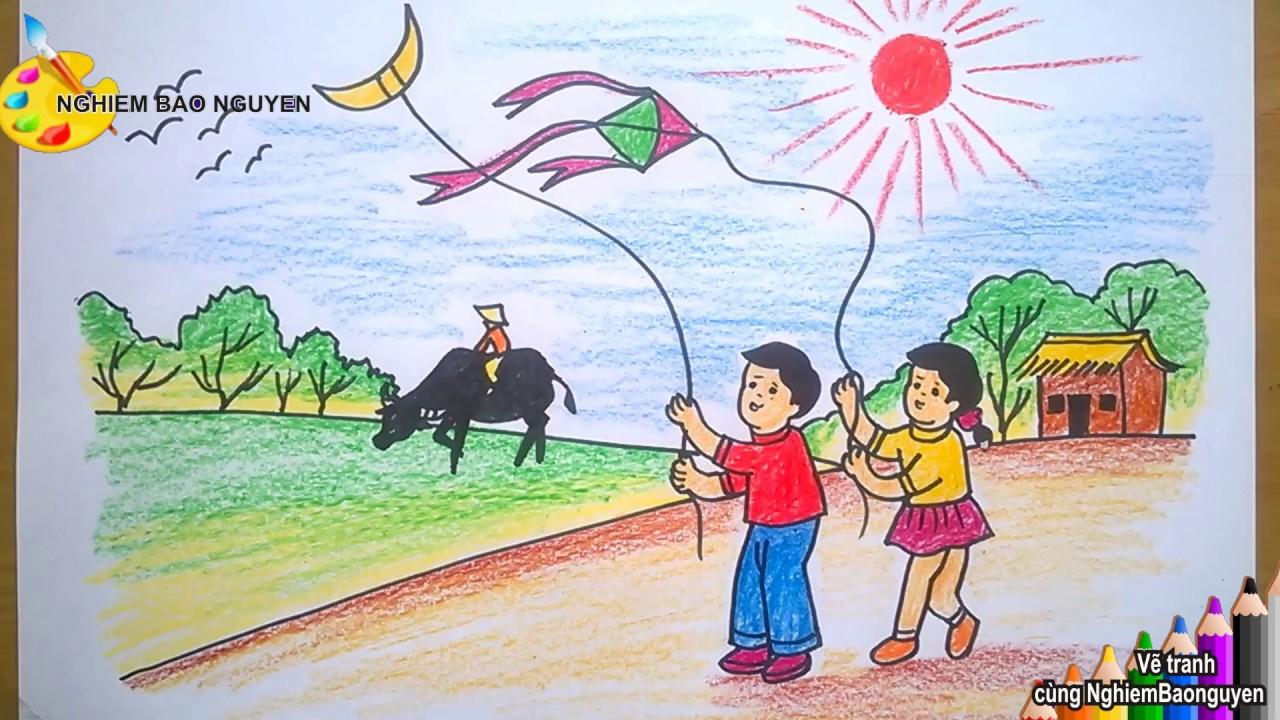 Vẽ tranh Mùa hè của bé/How to Draw Baby with Summer