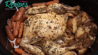 Complete Chicken Dinner in Slow Cooker - Whole Chicken - I Heart Recipes