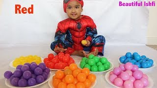 Funny Baby Learn Colors with Ball Pit Spiderman Custume | Beautiful Ishfi