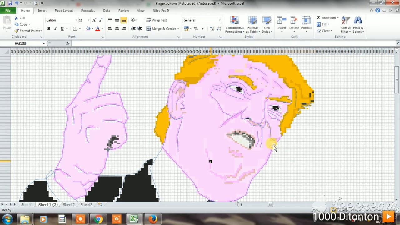 Cara Menggambar Donald Trump Dengan Ms Excel Pixel Per