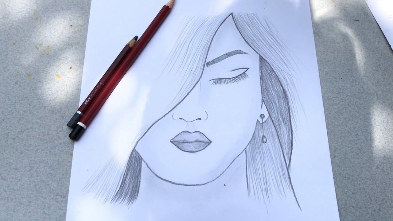 Vẽ cô gái bằng bút chì cực đơn giản