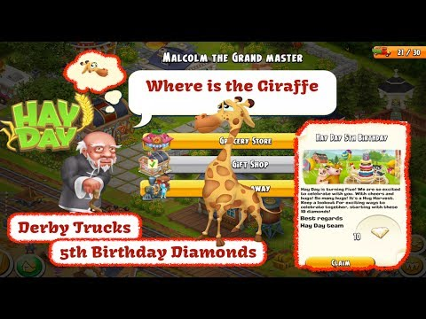 Hay Day - Birthday Diamonds, Derby Trucks, Town Sanctuary Visitors
