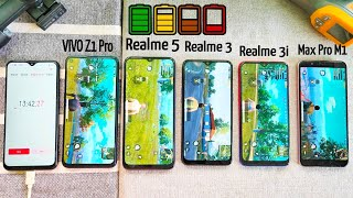 PUBG Battery Drain 100% to 0% | Realme 5 vs Z1 Pro vs Max Pro M1 vs Realme 3 vs Realme 3i