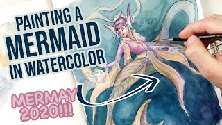 MERMAID watercolor -  Full Painting Process - MERMAY 2020!