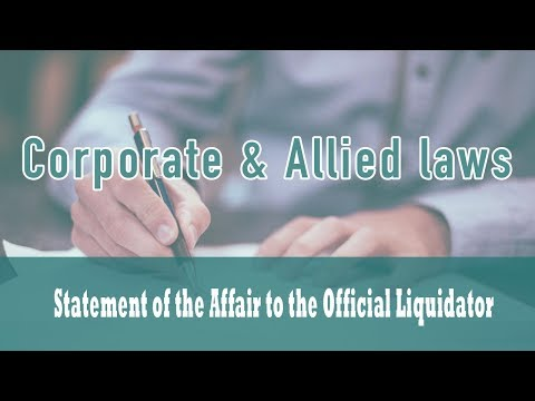 Winding up Class18 (Part7) Statement of the Affair to the Official Liquidator | Companies Act 1956