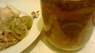 Салат из зеленых помидоров со специями.  Заготовки на зиму