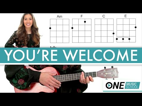 """How to play """"You're Welcome"""" from Moana - Ukulele Lesson / Tutorial"""