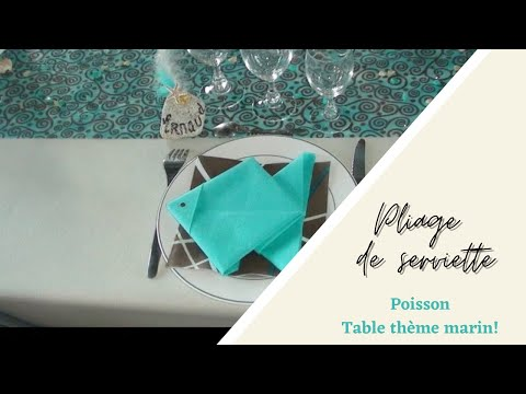 d coration de table mer chic et pliage de serviette poisson youtube. Black Bedroom Furniture Sets. Home Design Ideas