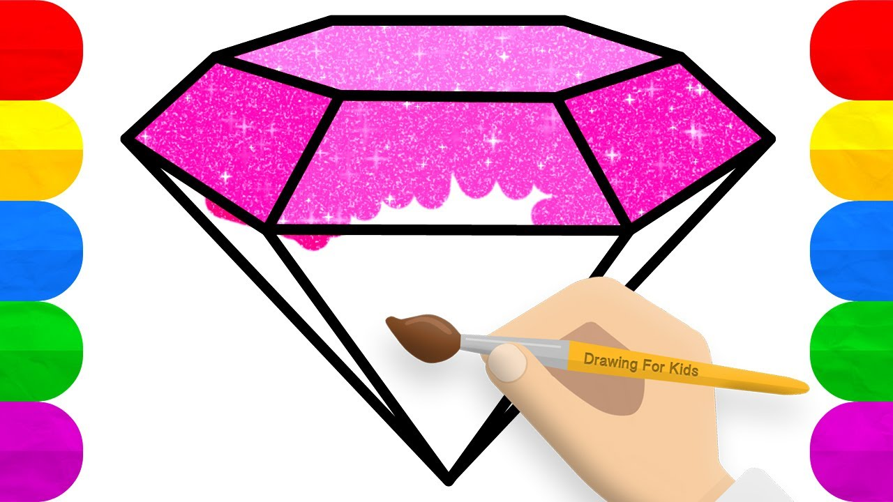 Glitter Diamond Coloring and Drawing   How to Draw Glitter Diamond