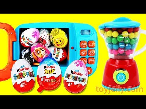 KINDER Chocolate Surprise Eggs Kinder Joy Magic Microwave & Blender Toy Playsets Kids Nursery Rhymes