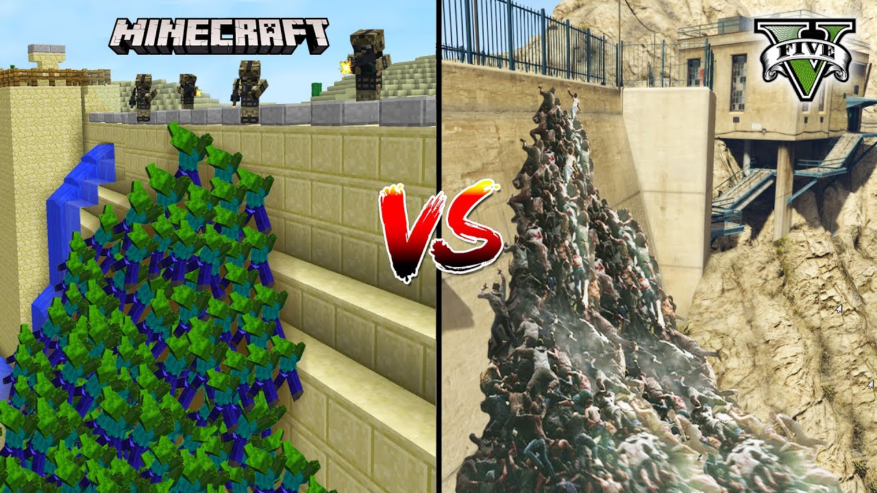 GTA 5 ZOMBIE APOCALYPSE ATTACK VS MINECRAFT ZOMBIE APOCALYPSE ATTACK - WHO IS BEST?