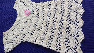 9bdaa7e30e5e ... Batita para niña de 2 a 3 años puntada de abanicos parte 1; Vestido  Allice em croche ...
