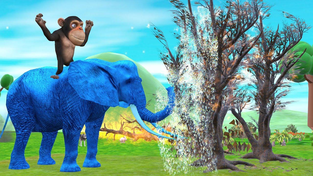 हाथी बन्दर और जंगल की रक्षा Hindi Kahaniya - Panchatantra Moral Stories - 3D Hindi Fairy Tales