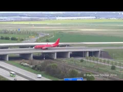 [Tower View] Red Germania 737-700 takeoff from Leipzig Halle Airport [LEJ/EDDP]