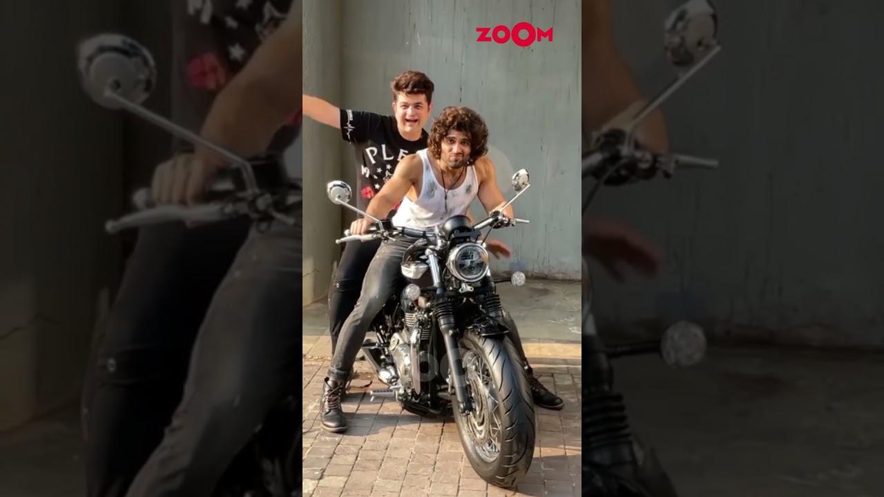 Vijay Deverakonda and Dabboo Ratnani pose on a bike   #Shorts