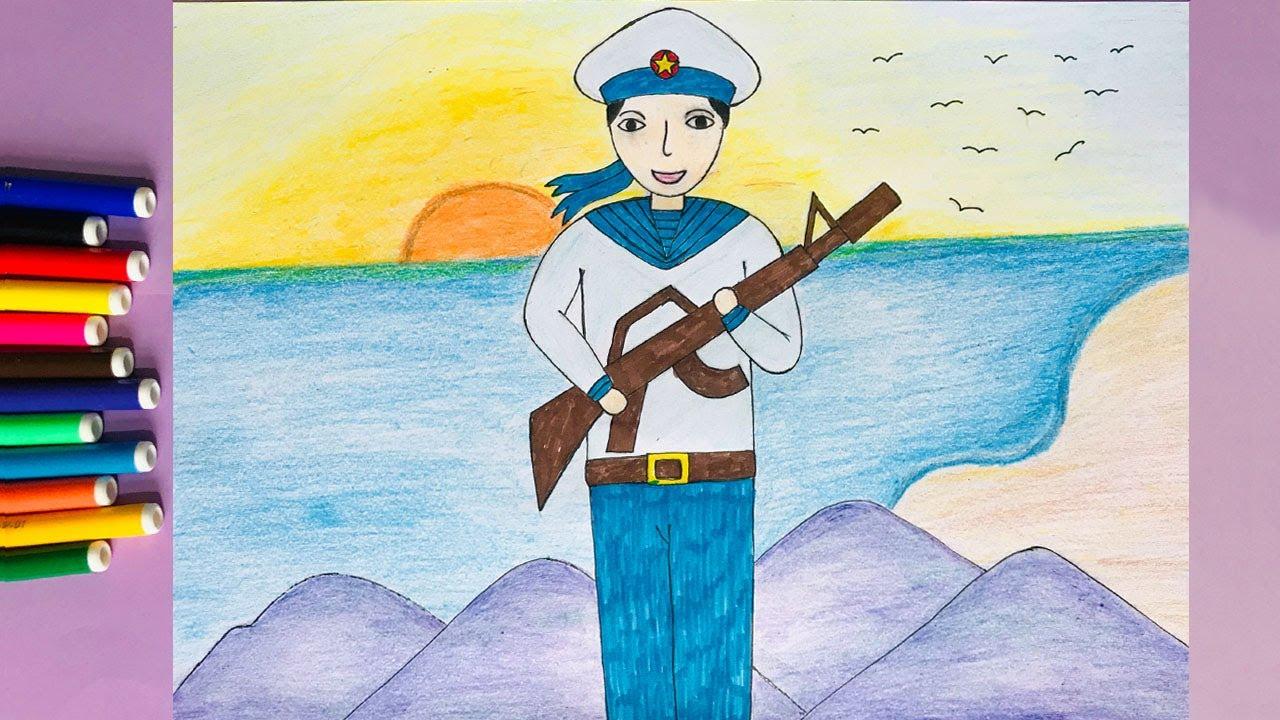Vẽ chú bộ đội hải quân   Vẽ tranh đề tài bộ đội   Vẽ tranh chú bộ đội đứng canh gác