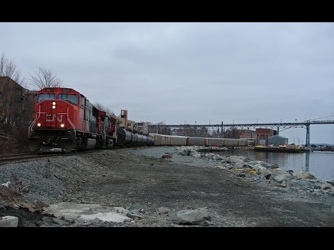 CN trains with car carriers for Autoport, Dartmouth NS 1991-2016