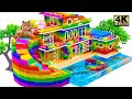 ASMR Build The Big Colorful Water Slide From Rooftop To Infinity Swimming Pool For Catfish
