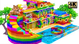 ASMR Video  Build The Big Colorful Water Slide From Rooftop To Infinity Swimming Pool For Catfish