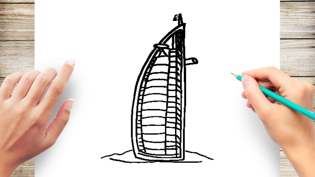 How To Draw Burj Al Arab Hotel Step By Step Youtube