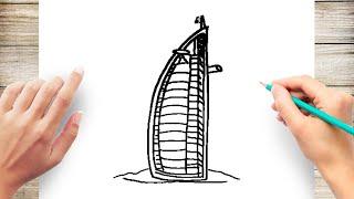 How to Draw Burj Al Arab Hotel Step by Step