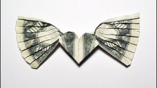 Money HEART with WINGS Origami Dollar Tutorial DIY Folded No glue and tape