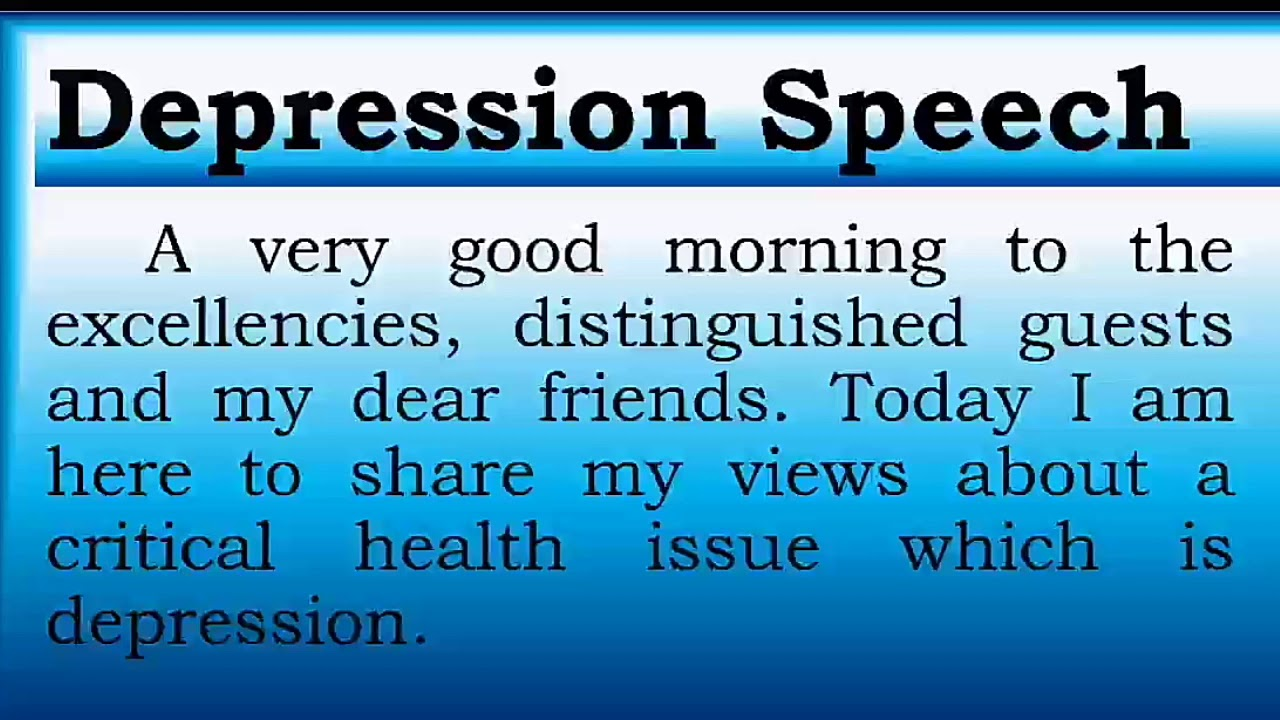 Download Speech on Depression in English by Smile please world