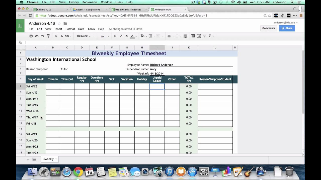 tutorial biweekly timesheets using google spreadsheets youtube