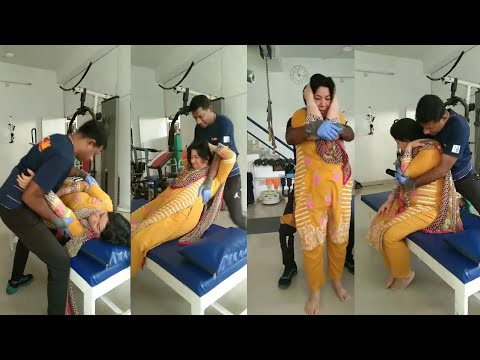 NRI Indian Lady Having Chiropractic Adjustment for Neck and Shoulder Pain by Dr. Vijay CLM Kerala