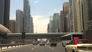 Driving on Sheikh Zayed Road - the main highway in Dubai
