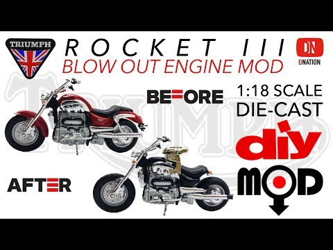 Modifying 1/18 scale Triumph Rocket III Motorcycle - Blow out Engine MOD by Dnation