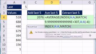 Excel Magic Trick 856: Last 5 Values In Column: Formulas For Adding, Averaging and Extracting Data