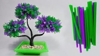 cara membuat tanaman hias dari sedotan kreatif | DIY bonsai decoration with plastic straws