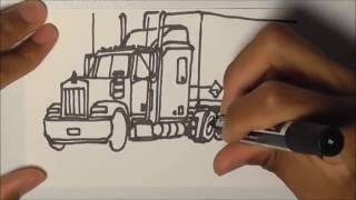 DRAWING TRUCKS!!! Kenworth W900 & Trailer