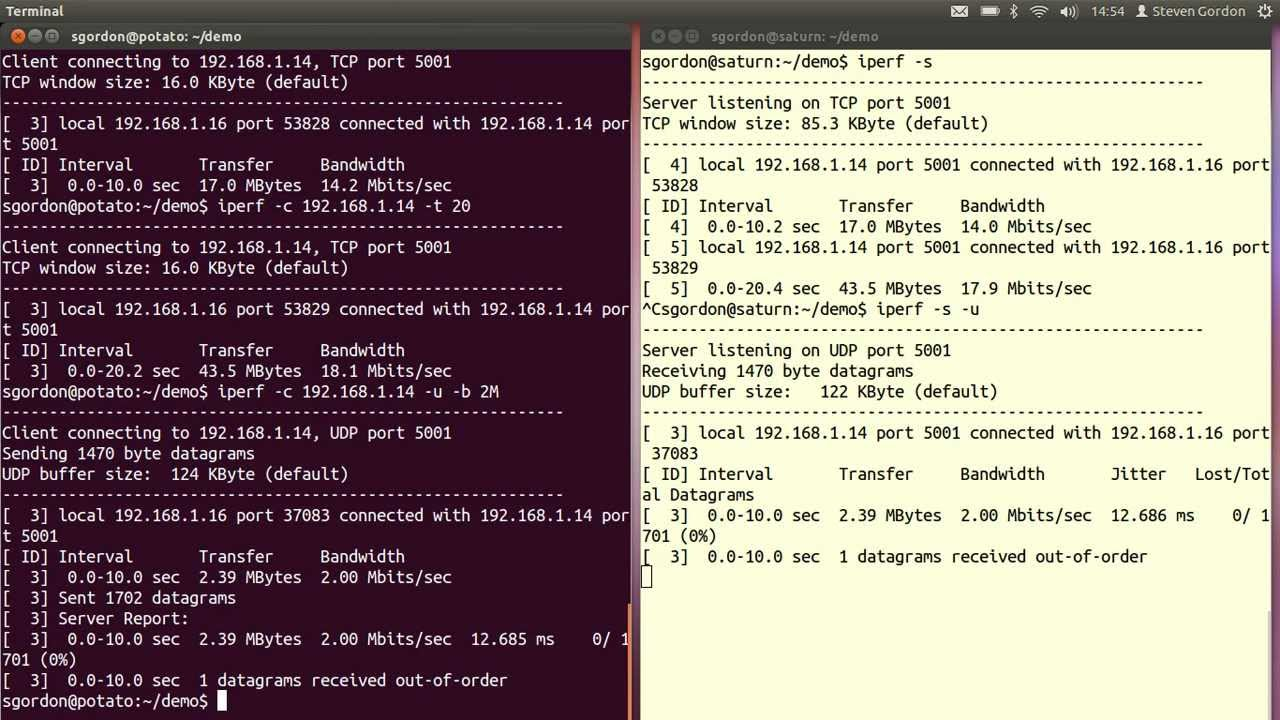 Quick Start Guide for iperf and tc