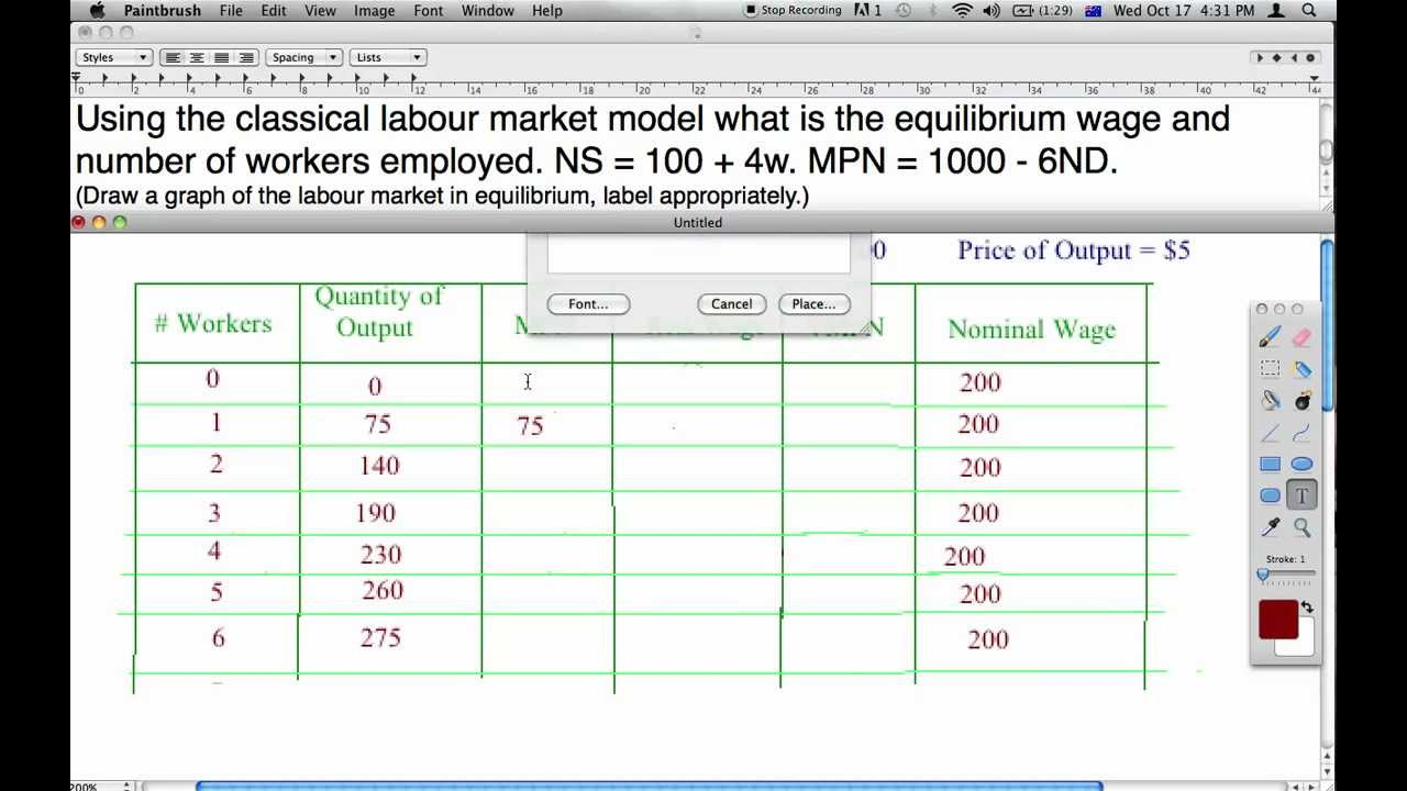 how to find equilibrium nominal wage