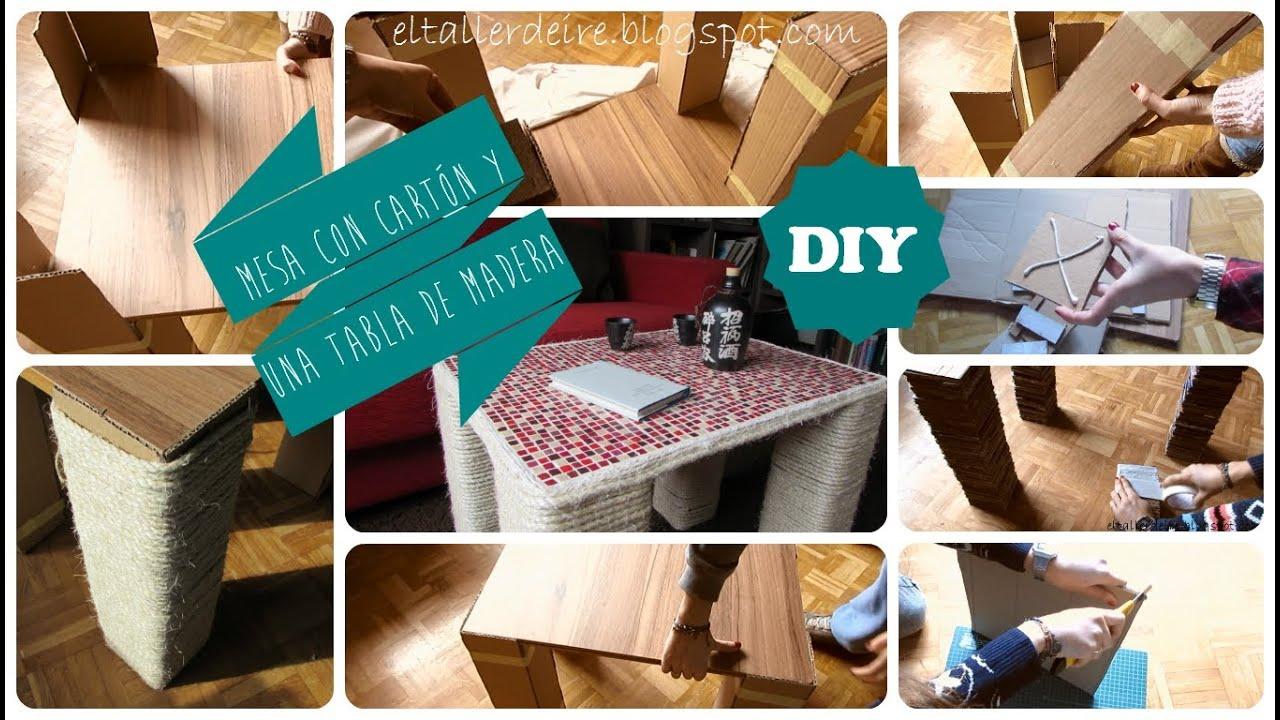 Diy mesa de cart n y madera youtube for Hacer una mesa con una puerta