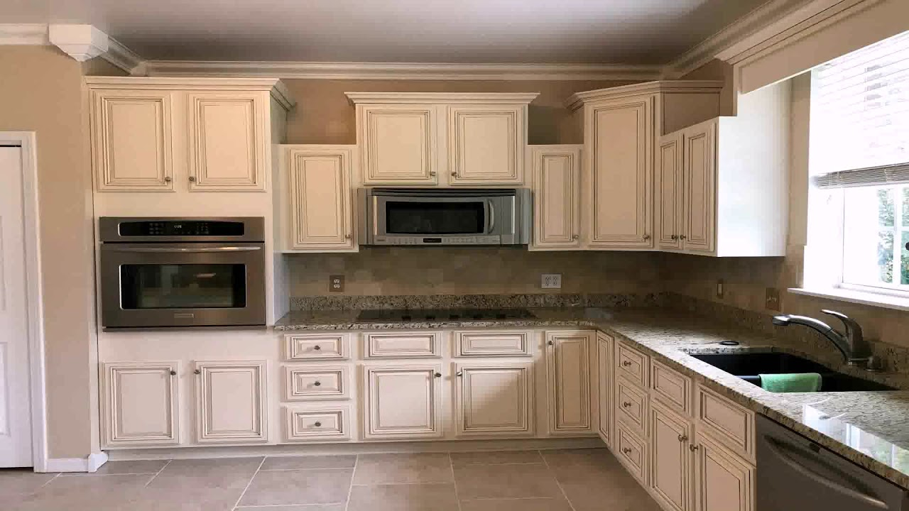 Off White Kitchen Cabinets With Brown Glaze Youtube