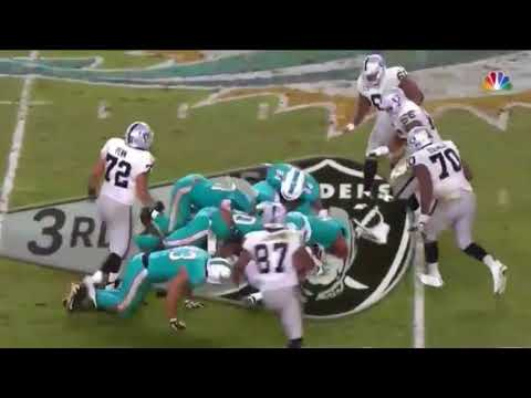 Ndamukong Suh Strip Sack w  a Big Guy Fumble   Raiders vs  Dolphins   NFL