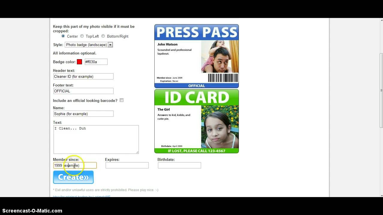 how to make an id badge online youtube