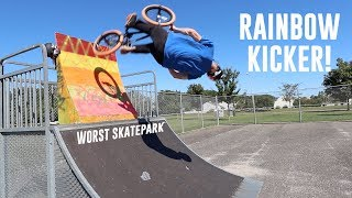 RAINBOW KICKER AT WORST SKATEPARK EVER!