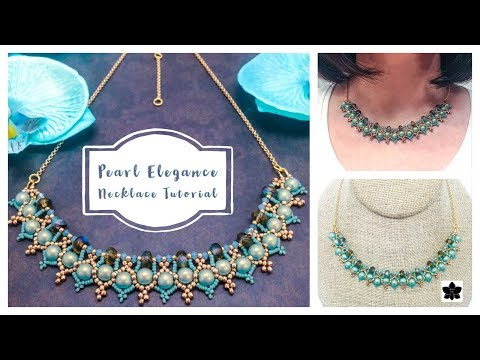 ✨PEARL ELEGANCE NECKLACE TUTORIAL ✨Beaded Jewelry Making ✨Beadweaving Pattern ✨ Czech Glass Beads