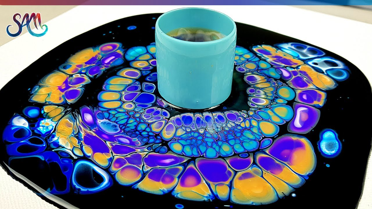 MUST SEE! Peacock??? Open Cup with Awesome Colors | Acrylic Pour CELLS | Fluid Art | Acrylic Pouring