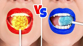 Hot Vs Cold Challenge || RED VS BLUE Funny Challenge for 24 HOURS by Challenge Accepted