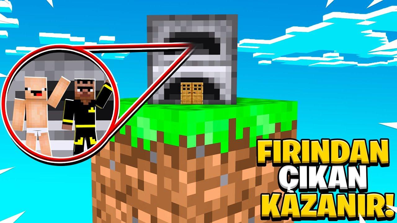 KEKO İLE TEK BLOKTA FIRIN İÇİNDEN SON CIKAN KAZANIR ! 😱 - Minecraft