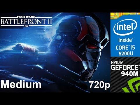 STAR WARS Battlefront II on HP Pavilion 15-ab032TX, Medium Setting 720p, Core i5 5200u + Nvidia 940m